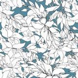 Bloemachtergrond van contour witte elementen Getrokken lichte bloementextuur Uitstekende textuur voor stoffendecoratie royalty-vrije illustratie