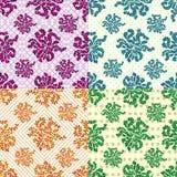 Bloemblaadjes van bloemenreeks van 4 gekleurde vector naadloze geometrische patronen op de achtergrond stock illustratie