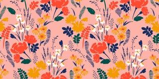 Bloemen Abstract naadloos patroon Vectorontwerp voor verschillende surfases royalty-vrije illustratie