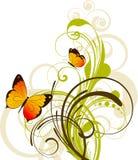 Bloemen abstracte achtergrond met vlinders Stock Fotografie