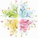 Bloemen abstracte achtergronden met vlinder. Stock Afbeelding