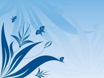 Bloemen abstracte vector met vlinders stock illustratie