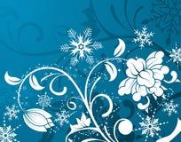 Bloemen achtergrond & sneeuwvlok Royalty-vrije Stock Afbeelding