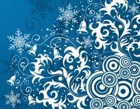 Bloemen achtergrond & sneeuwvlok Stock Foto's