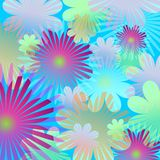 Bloemen achtergrond - blauw Stock Afbeelding