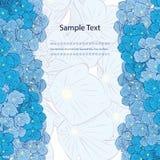 Bloemen achtergrond Blauwe Bloemen verticale Grens Stock Foto