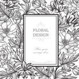 Bloemen achtergrond De uitstekende dekking van het bloemboeket Bloei groetkaart stock illustratie