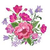 Bloemen achtergrond De uitstekende dekking van het bloemboeket Bloei kaart stock illustratie