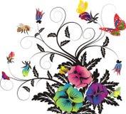 Bloemen achtergrond, en Vlinders, en bijen Royalty-vrije Stock Afbeelding