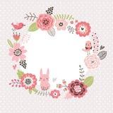 Bloemen achtergrond Kroonkader met leuke vogels en een haas De kaart van bloemen stock illustratie