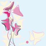 Bloemen achtergrond met drie-bloemblaadjes bloemen vector illustratie