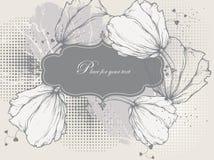 Bloemen achtergrond met een uitstekend frame en tulpen stock illustratie