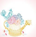 Bloemen achtergrond met gieter en vogel stock illustratie