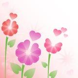 Bloemen achtergrond met harten Royalty-vrije Stock Afbeelding