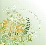 bloemen achtergrond met libel Stock Afbeeldingen