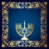 Bloemenachtergrond met Menorah royalty-vrije illustratie