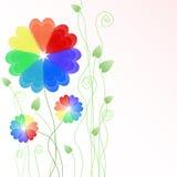 Bloemen achtergrond met multicolored harten Royalty-vrije Stock Foto's