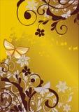 Bloemen achtergrond met vlinder vector illustratie