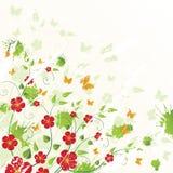 Bloemen achtergrond met vlinders Royalty-vrije Stock Afbeeldingen