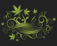 Bloemen achtergrondtextuur en cannabisbladerenillustratie Royalty-vrije Stock Fotografie