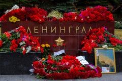 Bloemen als teken van het rouwen voor de doden Stock Fotografie