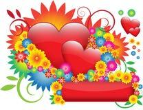 Bloemen & harten Stock Foto's