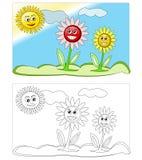 Bloemen & zon Stock Foto