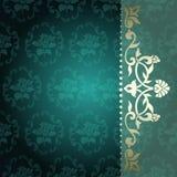 Bloemen arabesqueachtergrond in groen en gouden Stock Afbeelding