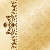 Bloemen arabesqueachtergrond in sepia tonen Stock Foto