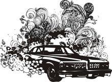 Bloemen autoillustratie Stock Afbeeldingen