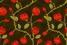 Bloemen behang met rode tulpen Stock Foto's