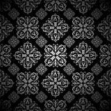 Bloemen behang zilveren tegel Royalty-vrije Stock Afbeelding