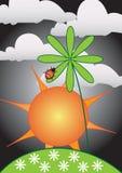 Bloemen beweging veroorzakend met zon en dame-kever stock illustratie