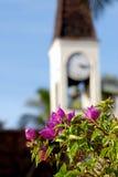 Bloemen bij de Kerk Stock Afbeelding