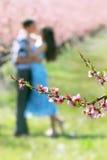 Bloemen bij het houden van paar van achtergrond Royalty-vrije Stock Fotografie