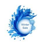 Bloemen Blauw Kader met Sneeuwvlokken Royalty-vrije Stock Foto's