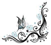 Bloemen, bloesems, vlinder Stock Fotografie