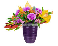 Bloemen boeket van orchideeën, gladioluses en anjer Royalty-vrije Stock Foto