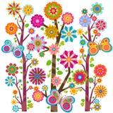 Bloemen bomen en vlinders Royalty-vrije Stock Afbeelding