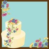 Bloemen cakeuitnodiging Stock Foto's