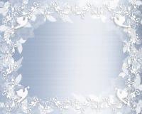 Bloemen de grens blauw satijn van de Uitnodiging van het huwelijk Stock Fotografie