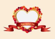 Bloemen de Groetkaart van de valentijnskaartendag Het bloemkader met liefde hoort Stock Afbeelding