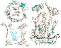 Bloemen de kaarteninzameling van de huwelijksuitnodiging Stock Afbeeldingen
