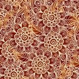 Bloemen de stijl naadloos patroon van de hennatatoegering Stock Fotografie
