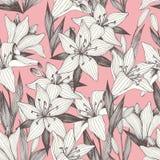 Bloemen De tekening van de hand Vector naadloos patroon op een roze achtergrond vector illustratie