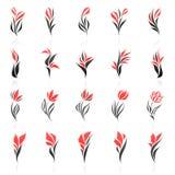Bloemen. De vector reeks van het embleemmalplaatje. Royalty-vrije Stock Afbeeldingen