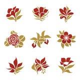 Bloemen. De vector reeks van het embleemmalplaatje. stock illustratie