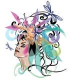 Bloemen de vrouwenportret van de lente Stock Illustratie