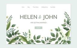 Bloemen de websiteontwerp van de huwelijksuitnodiging vector illustratie