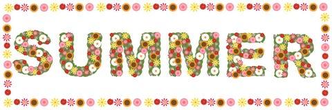 Bloemen de zomerwoord stock illustratie